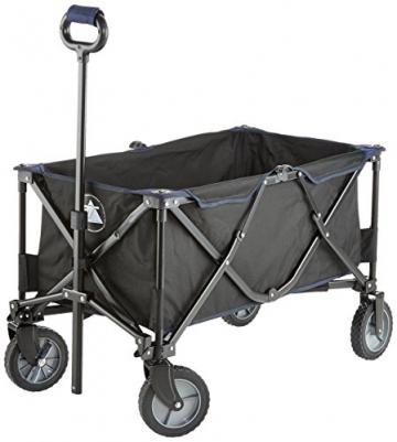 10T Foldy Trolley XXL Bollerwagen bis 50 kg Strandwagen mit Bremse faltbarer Handwagen Kinderwagen inkl. Einlegeboden Zugstange mit Rund-Griff und Transport-Tasche - 1