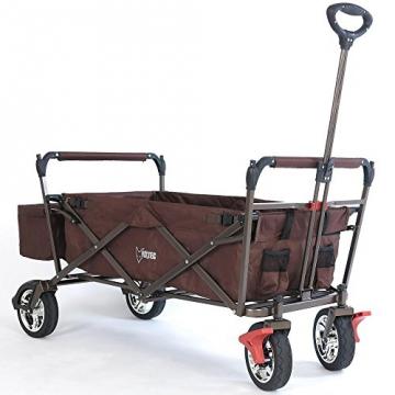 Bollerwagen CT-500OR BRAUN klappbar Handwagen Leiterwagen Strandwagen mit Sonnendach faltbar Transportwagen - 2