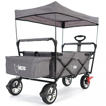 FUXTEC faltbarer Bollerwagen FX-CT500 grau klappbar mit Dach, Vorderrad-Bremse, Vollgummi-Reifen, Hecktasche, für Kinder geeignet - Das Original mit GS-Prüfsiegel geprüfte Qualität ! - 4
