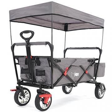 FUXTEC faltbarer Bollerwagen FX-CT500 grau klappbar mit Dach, Vorderrad-Bremse, Vollgummi-Reifen, Hecktasche, für Kinder geeignet - Das Original mit GS-Prüfsiegel geprüfte Qualität ! - 1