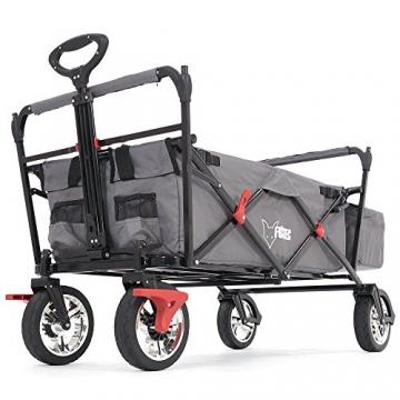 FUXTEC faltbarer Bollerwagen FX-CT500 grau klappbar mit Dach, Vorderrad-Bremse, Vollgummi-Reifen, Hecktasche, für Kinder geeignet - Das Original mit GS-Prüfsiegel geprüfte Qualität ! - 5