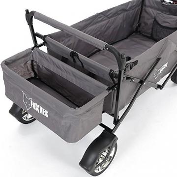FUXTEC faltbarer Bollerwagen FX-CT500 grau klappbar mit Dach, Vorderrad-Bremse, Vollgummi-Reifen, Hecktasche, für Kinder geeignet - Das Original mit GS-Prüfsiegel geprüfte Qualität ! - 7