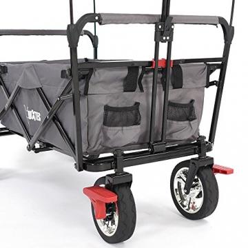 FUXTEC faltbarer Bollerwagen FX-CT500 grau klappbar mit Dach, Vorderrad-Bremse, Vollgummi-Reifen, Hecktasche, für Kinder geeignet - Das Original mit GS-Prüfsiegel geprüfte Qualität ! - 8