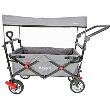 FUXTEC faltbarer Bollerwagen FX-CT700 grau klappbar mit Dach, Vorder- und Hinterrad-Bremse, Vollgummi-Reifen, Schubbügel, für Kinder geeignet - Das Original ! - 2