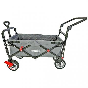 FUXTEC faltbarer Bollerwagen FX-CT700 grau klappbar mit Dach, Vorder- und Hinterrad-Bremse, Vollgummi-Reifen, Schubbügel, für Kinder geeignet - Das Original ! - 3
