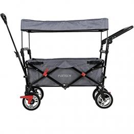 FUXTEC faltbarer Bollerwagen FX-CT700 grau klappbar mit Dach, Vorder- und Hinterrad-Bremse, Vollgummi-Reifen, Schubbügel, für Kinder geeignet - Das Original ! - 1