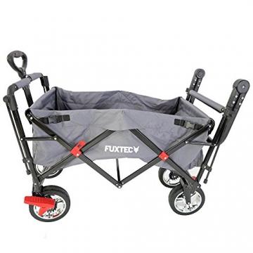 FUXTEC faltbarer Bollerwagen FX-CT700 grau klappbar mit Dach, Vorder- und Hinterrad-Bremse, Vollgummi-Reifen, Schubbügel, für Kinder geeignet - Das Original ! - 6