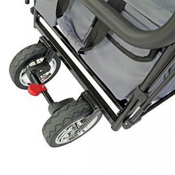 FUXTEC faltbarer Bollerwagen FX-CT700 grau klappbar mit Dach, Vorder- und Hinterrad-Bremse, Vollgummi-Reifen, Schubbügel, für Kinder geeignet - Das Original ! - 8
