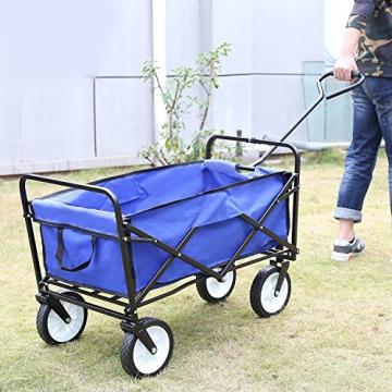 HOMFA Bollerwagen Transportwagen Handwagen Transportkarre faltbar Gartenwagen Gerätewagen 83x53x63cm bis 80 Kg 360° drehbar (Blue) - 3