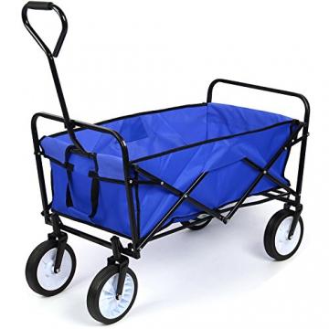 HOMFA Bollerwagen Transportwagen Handwagen Transportkarre faltbar Gartenwagen Gerätewagen 83x53x63cm bis 80 Kg 360° drehbar (Blue) - 1