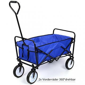 HOMFA Bollerwagen Transportwagen Handwagen Transportkarre faltbar Gartenwagen Gerätewagen 83x53x63cm bis 80 Kg 360° drehbar (Blue) - 5