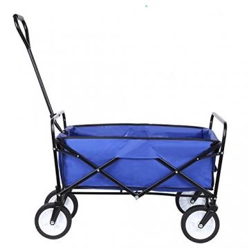 HOMFA Bollerwagen Transportwagen Handwagen Transportkarre faltbar Gartenwagen Gerätewagen 83x53x63cm bis 80 Kg 360° drehbar (Blue) - 8