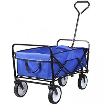 HOMFA Bollerwagen Transportwagen Handwagen Transportkarre faltbar Gartenwagen Gerätewagen 83x53x63cm bis 80 Kg 360° drehbar (Blue) - 9