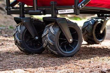 Meister Bollerwagen off-road - 68 kg Tragkraft - Ausziehbarer Griff - 360° Räder - Platzsparend faltbar - Optimal geeignet für Ausflüge & Festivals / Handwagen / Transportwagen / Strandwagen / 6816930 - 6