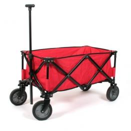 Praktischer Faltbarer Bollerwagen Deluxe in rot mit verstärktem Boden - max. Belastung 70 Kg - 1