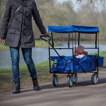Relaxdays Bollerwagen faltbar, Sonnendach, Handwagen, 360 ° drehbar, extra Taschen, HTB: ca. 55 x 83 x 51,5 cm, blau - 2