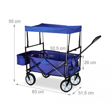 Relaxdays Bollerwagen faltbar, Sonnendach, Handwagen, 360 ° drehbar, extra Taschen, HTB: ca. 55 x 83 x 51,5 cm, blau - 3