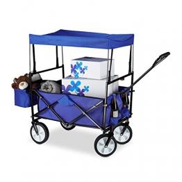 Relaxdays Bollerwagen faltbar, Sonnendach, Handwagen, 360 ° drehbar, extra Taschen, HTB: ca. 55 x 83 x 51,5 cm, blau - 1