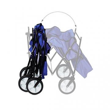 Relaxdays Bollerwagen faltbar, Sonnendach, Handwagen, 360 ° drehbar, extra Taschen, HTB: ca. 55 x 83 x 51,5 cm, blau - 5