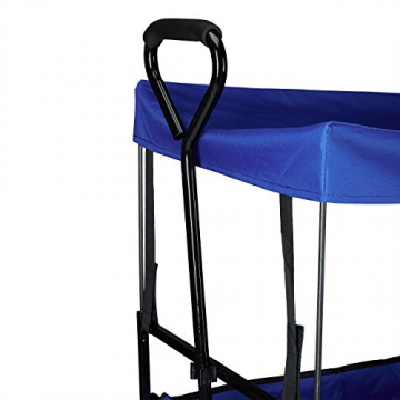 Relaxdays Bollerwagen faltbar, Sonnendach, Handwagen, 360 ° drehbar, extra Taschen, HTB: ca. 55 x 83 x 51,5 cm, blau - 6