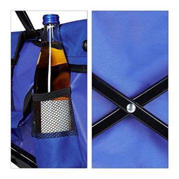 Relaxdays Bollerwagen faltbar, Sonnendach, Handwagen, 360 ° drehbar, extra Taschen, HTB: ca. 55 x 83 x 51,5 cm, blau - 7