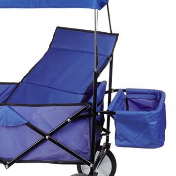 Relaxdays Bollerwagen faltbar, Sonnendach, Handwagen, 360 ° drehbar, extra Taschen, HTB: ca. 55 x 83 x 51,5 cm, blau - 8