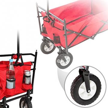 TecTake® Faltbarer Bollerwagen mit Dach und extra Tragetasche rot - 4