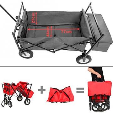 TecTake® Faltbarer Bollerwagen mit Dach und extra Tragetasche rot - 5