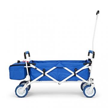 Waldbeck The Blue Supreme • Bollerwagen • Handwagen • kippsicher • witterungsbeständig • Falttechnik • 68 kg Belastbarkeit • Kühltasche • Dachplane • 8 Seitentaschen • PU-Kunststoffräder • pulverbeschichtete Metallteile • einfache Lenkung • blau - 3
