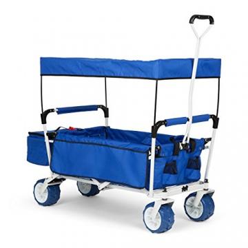 Waldbeck The Blue Supreme • Bollerwagen • Handwagen • kippsicher • witterungsbeständig • Falttechnik • 68 kg Belastbarkeit • Kühltasche • Dachplane • 8 Seitentaschen • PU-Kunststoffräder • pulverbeschichtete Metallteile • einfache Lenkung • blau - 1