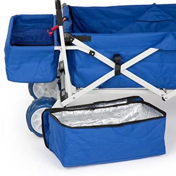 Waldbeck The Blue Supreme • Bollerwagen • Handwagen • kippsicher • witterungsbeständig • Falttechnik • 68 kg Belastbarkeit • Kühltasche • Dachplane • 8 Seitentaschen • PU-Kunststoffräder • pulverbeschichtete Metallteile • einfache Lenkung • blau - 5