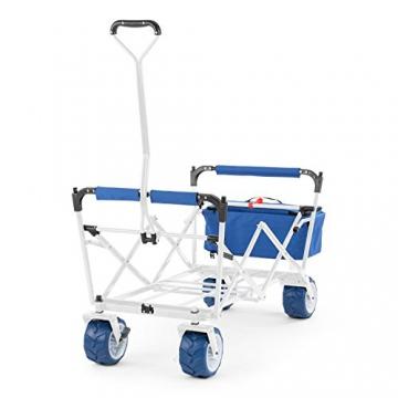 Waldbeck The Blue Supreme • Bollerwagen • Handwagen • kippsicher • witterungsbeständig • Falttechnik • 68 kg Belastbarkeit • Kühltasche • Dachplane • 8 Seitentaschen • PU-Kunststoffräder • pulverbeschichtete Metallteile • einfache Lenkung • blau - 7