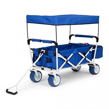 Waldbeck The Blue Supreme • Bollerwagen • Handwagen • kippsicher • witterungsbeständig • Falttechnik • 68 kg Belastbarkeit • Kühltasche • Dachplane • 8 Seitentaschen • PU-Kunststoffräder • pulverbeschichtete Metallteile • einfache Lenkung • blau - 8